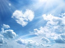 Heart in a blue unflawed sky in the form of clouds