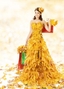 Shopping Woman Happy In Autumn Fashion Dress Of Yellow Fall Leav