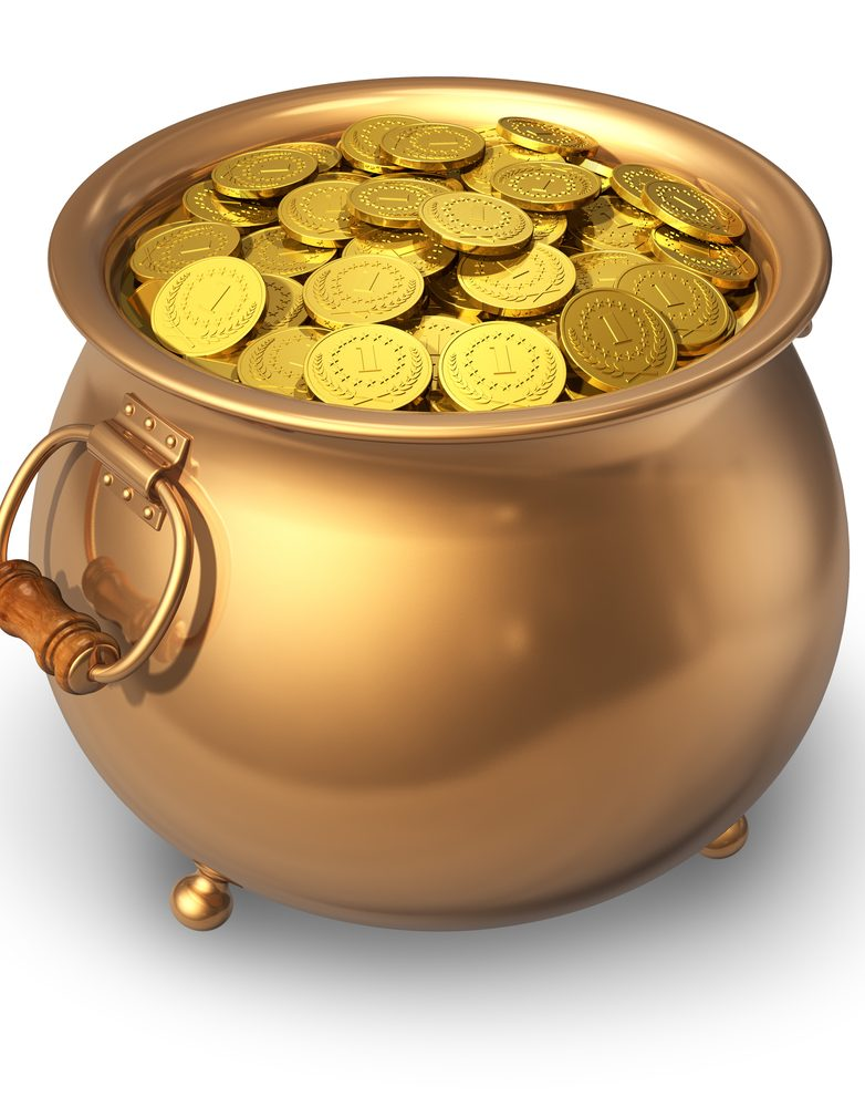 Pot full of golden coins isolated on white background