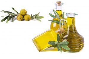 composition of oil bottles and olives